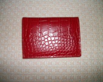 Macy's Red small Wallet  Faux  Mock Crock   Byfold Clutch   Like NEW
