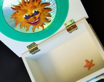 BEACH BOX GLASS Seashell Collector Ocean Treasures Beach Wedding Green Vinyl Record Wood Shabby Chic White Sunburst Starfish Abalone Buttons