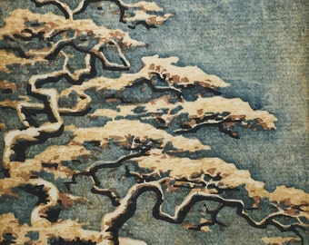 Artist Proof - Tree No. 30 OOAK hand-pulled woodblock moku hana fine art print