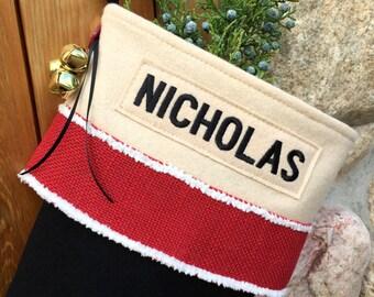 Santa's Boot Christmas Stockings with Burlap Ribbon MADE in USA