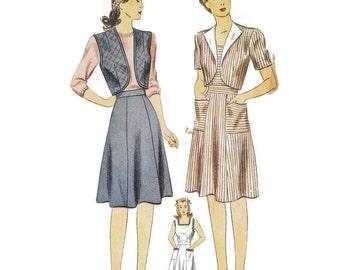1940s Sun Dress Bolero Jacket Skirt and Vest Pattern Simplicity 4727 B32 sz 14