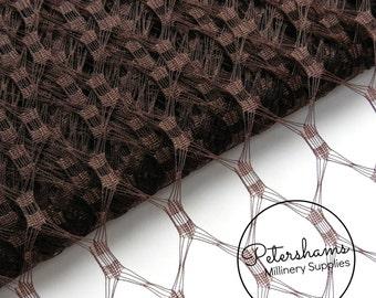 Waffle Weave Vintage Replica Net Veiling for wedding veils, Fascinators & Millinery 1m (1.09 yards) - Chocolate Brown