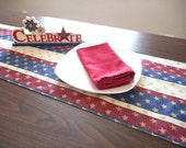 Patriotic Table Runner Stars Stripes Red Beige Blue Gold Fourth of July Labor Day Americana Picnic Rustic Reversible