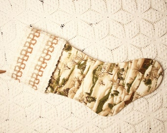 """Snowy Woodland """"Winter at Walden Pond"""" Heirloom Christmas Stocking with Vintage Chenille Cuff"""