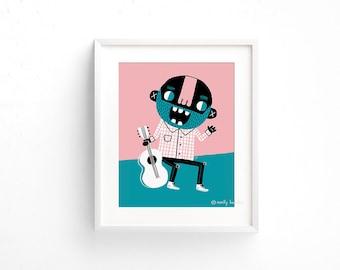 Guitar Man - Giclee of an original illustration (8 x 10in)