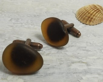 FOR HIM cufflinks - MERMAID - Organic Brown Sea Glass cufflinks for him or her with Genuine Natural Amalfi Sea Glass / nr85