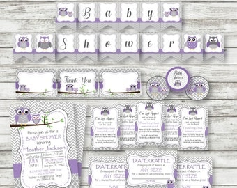 Purple Owl Baby Shower PARTY PACK - Purple Gray Owl Shower - PRINTABLE Decorations - Owl Shower Supplies - Baby Shower - Instant Download