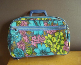 Away You Go - Vintage Floral Bantam Suitcase - Vintage Blue Purple and Green Patterned Zippered Travel Case