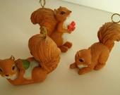 Vintage squirrel miniatures set of 6