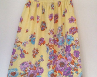 Vintage 70's yellow with purple  flowers skirt