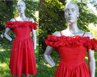 35% OFF Off the Shoulder 80s Prom Dress with Ruffled Top in Red/ Vintage Bridesmaid Dress/ 80s Dress/ Vintage Dress Size 00