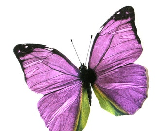 2 Large Purple Fabric Butterflies for Hair Pins, Favors, Wedding Cakes