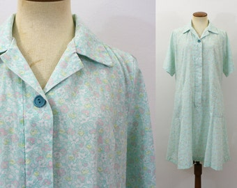 1960s Day Dress Zip Up Mint Green Floral A Line Shift Open Neck Collar Short Sleeve Cotton Blend Grandma Vintage 60s Retro Extra Large XL