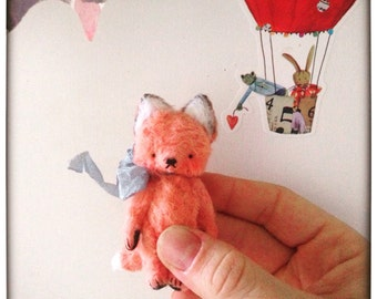 MADE TO ORDER 2 inch Artist Handmade Viscose Pocket Sized Miniature Teddy Fox by Sasha Pokrass