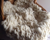 Chunky Knit Textured Merino Mini Blanket / Photography Prop / Natural