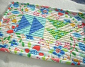 a little blue and green in the garden mini quilt snack mat - FREE SHIPPING