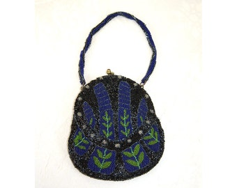 Antique beaded purse flapper purse 1920s beaded bag blue black green art nouveau design