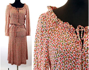 Diane Von Furstenburg dress two piece skirt top peasant boho look red floral 1970s Size M