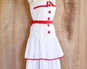 45% OFF SALE.... vintage dress • red white print dress • day dress • Small