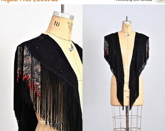 vintage 1970s fringed wrap • rock punk wrap • black denim • beaded fringe