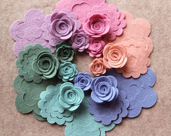 Watercolors - Small & Medium 3D Rolled Roses - 24 Die Cut Wool Blend Felt Flowers - Unassembled Rosettes