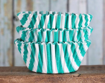 Jade Green Cupcake Liners, Jade Green Striped Cupcake Liners, Jade Green Baking Cups, Jade Green Cupcake Wrappers, Muffin Papers (50)