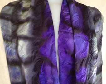 Regal Infinity scarf hand painted silk jacquard