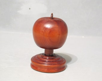 Vintage Wood Apple with Stand / Teachers Apple Desk Accessory Paperweight, Hand Made Wooden Fruit Sculpture Primitive Country Kitchen Decor