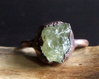 Stone Ring Garnet Rough Stone Jewelry Copper Raw Crystal Gemstone January Birthstone Size 7 Midwest Alchemy