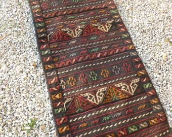 "Traditional  Grey/Red Adras Khan rug/kilim.  Hand woven. 5 ft 7""  x 2 ft  2"" 170 x 66 cm"