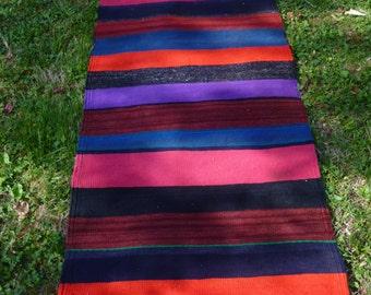 Richly Coloured Striped Flatweave Carpet Kilim Runner Hand woven tough wool. 6 ft 3 x 2 ft 2   190 x 66 cm Tapis