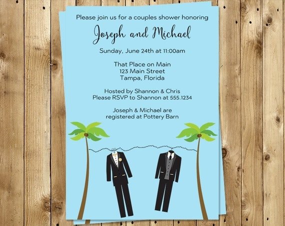 Beach Couples Shower Invitations, Same Sex, Groom, Tux, Wedding, Set of 10 Printed Cards with Envelopes, FREE Ship, BCHBL, Beachy Clothes