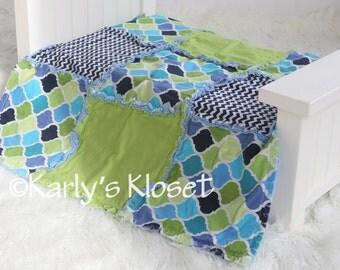 Baby Quilt, Newborn Boy Blanket Prop, Lime & Blue Baby Quilt, Newborn Rag Quilt, Baby Boy Props, Newborn Boy Props, Layering Blanket Prop