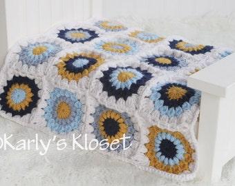 Baby Boy Blanket, Baby Blanket Prop, Mini Blanket, Newborn Boy Props, Blue Blanket, Photography Props Boys, Mustard Yellow, Crochet Blanket