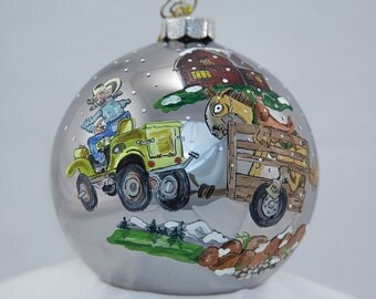 Hand Painted Ornament-Tractor Pulling Horse-Item 2032