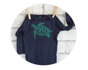 Sea Turtle Baby Onepiece Bodysuit,  Long Sleeved Navy Blue Baby Onepiece, Cotton Infant Clothing, Baby Shower, Ocean Life, Marine Animal