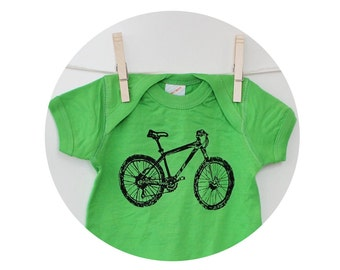 Mountain Bike Onepiece Baby Bodysuit in Apple Green, Screen-printed Bicycle Graphic, Short Sleeved Romper, Biking Outdoors, Mother Nature