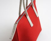Red Wool Felt Tote / Felt Bag / Tote Bag with Zipper / Handbags / Wool Felt Bag
