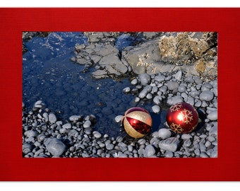 Red Coastal Christmas Cards - Red Linen Christmas Cards - Christmas Ornaments - Beach Holiday Cards - Red Beach Cards