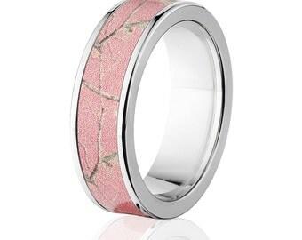 Branded RealTree Pink Camouflage Titanium Rings, Premium High Polish Finish Camo Bands: 7F-RealTreePnk