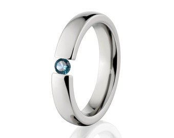 Tension Set- Blue Topaz- Ring-Uniquely You-   4HR-P-Tension-BlueTopaz