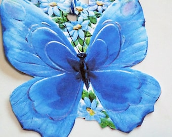 Blue Butterfly Tags - Set of 4 - Butterfly Shape Tag - Retro Butterfly - Gift Tags - Garden Tags - Thank Yous - Mid Century  - Blue Flowers
