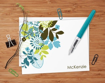 McKenzie (Mod Floral) Set of 8 CUSTOM Personalized Flat Note Cards/ Stationery