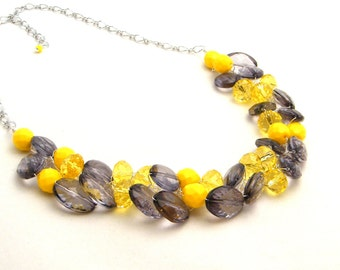 Yellow and Gray Chunky Necklace, Statement Necklace, Crystal ACRYLIC, Bridesmaid Necklace, Yellow and Gray Wedding, Wire Crochet