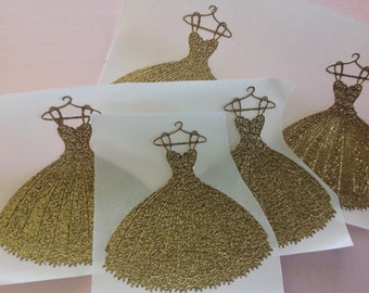 Beautiful Large Gold Glitter Pleated Dress stickers 10 pc    Shower    Birthday