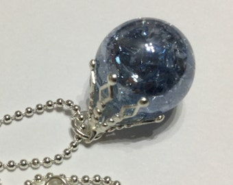 Vintage fried marble pendant - steely ice blue shattered glass necklace