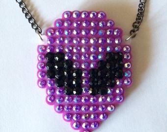 Space Babe-Large Purple Alien Rhinestone Statement Necklace