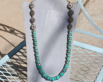 new silver and turquoise necklace  24 inches long