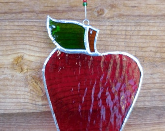 Stained Glass Apple - Suncatcher-Handmade-Teachers Gift-Home Decor-Birthday-Fruit-Gift for Him or Her-Christmas