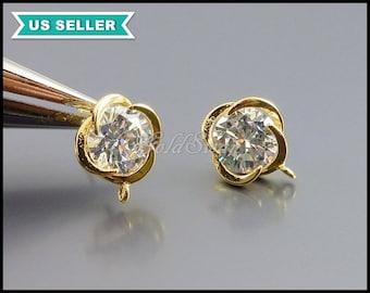 1 pair round flower Cubic Zirconia / CZ earrings in gold setting, DIY wedding crystal earrings E1077-Bg